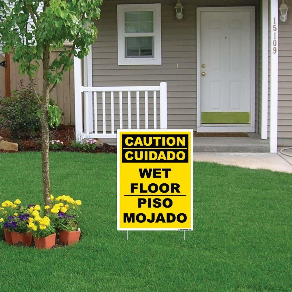 Spanish/English Caution Wet Floor Sign or Sticker - #17