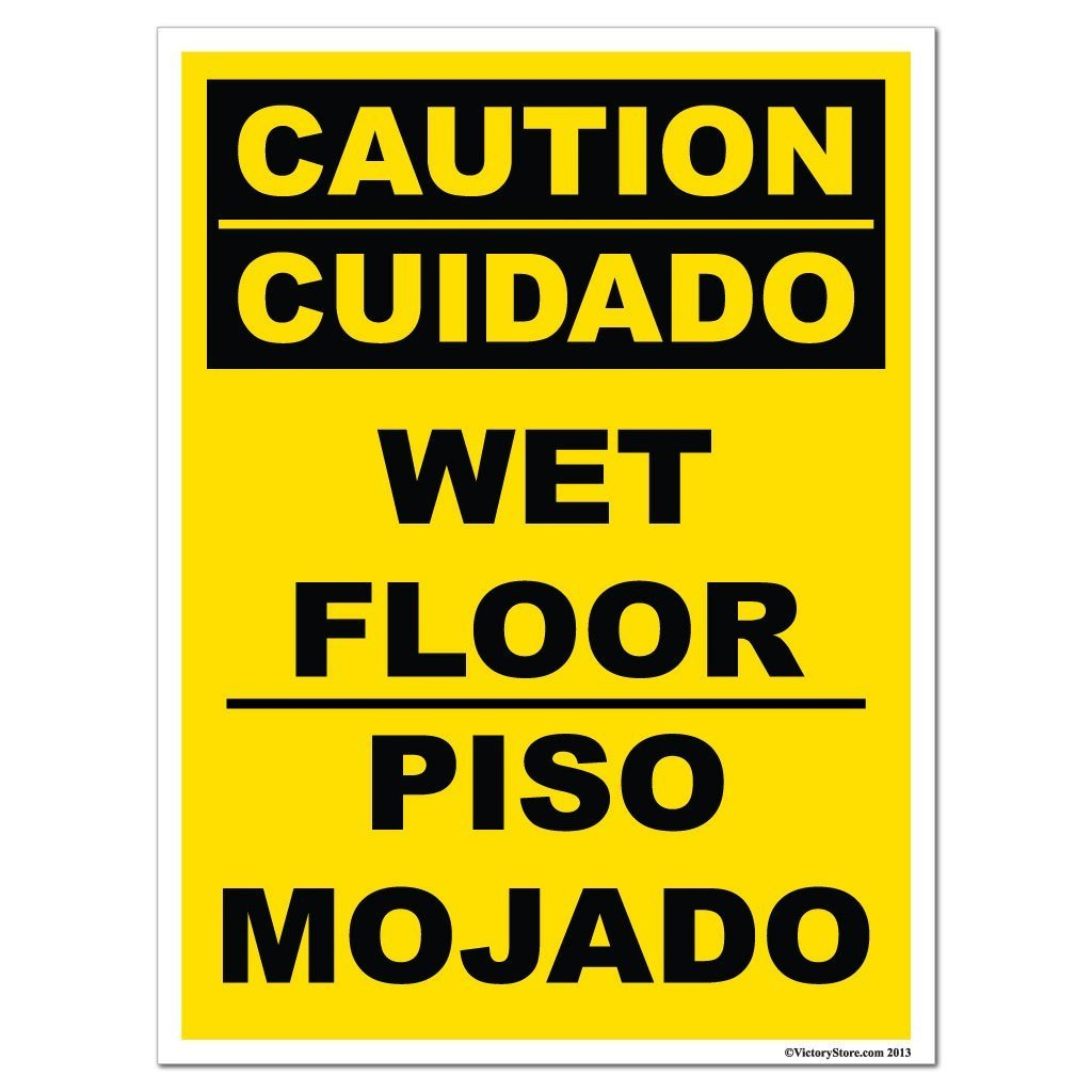 signs buckets floor caution wringers wet cleaning equipment sign