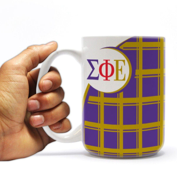 "Sigma Phi Epsilon 15oz Coffee Mug "" Plaid Design"