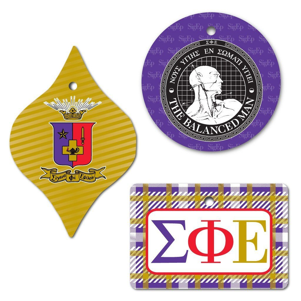 Sigma Phi Epsilon Ornament - Set of 3 Shapes - FREE SHIPPING