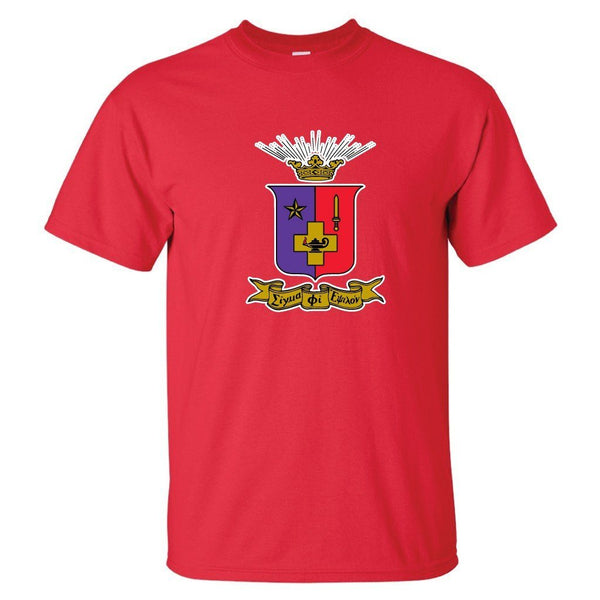 "Sigma Phi Epsilon Standard T-Shirt - Coat of Arms Design "" White, Red,"