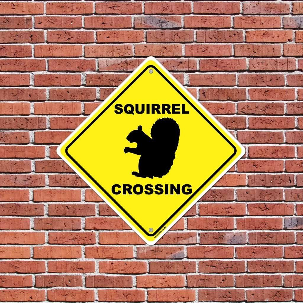 Squirrel Crossing Sign or Sticker