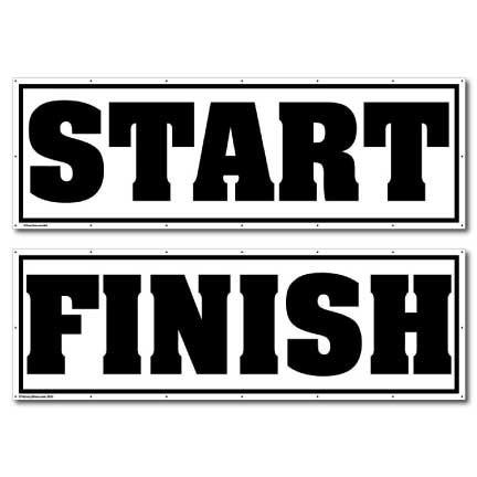 Start and Finish - Black Vinyl Banner Set of 2