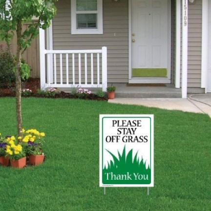 "A yard sign that says ""Please stay off grass"""
