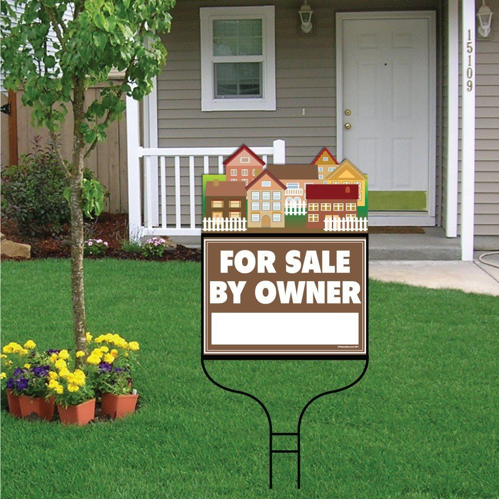 "A yard sign for a realtor that says ""For sale by owner"""