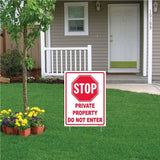 "A yard sign that says ""Stop, Private Property. Do not Enter"""