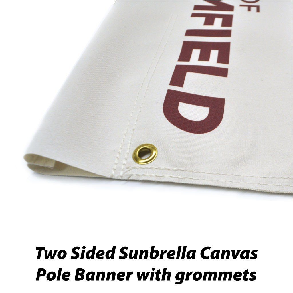 A close up of a pole banner