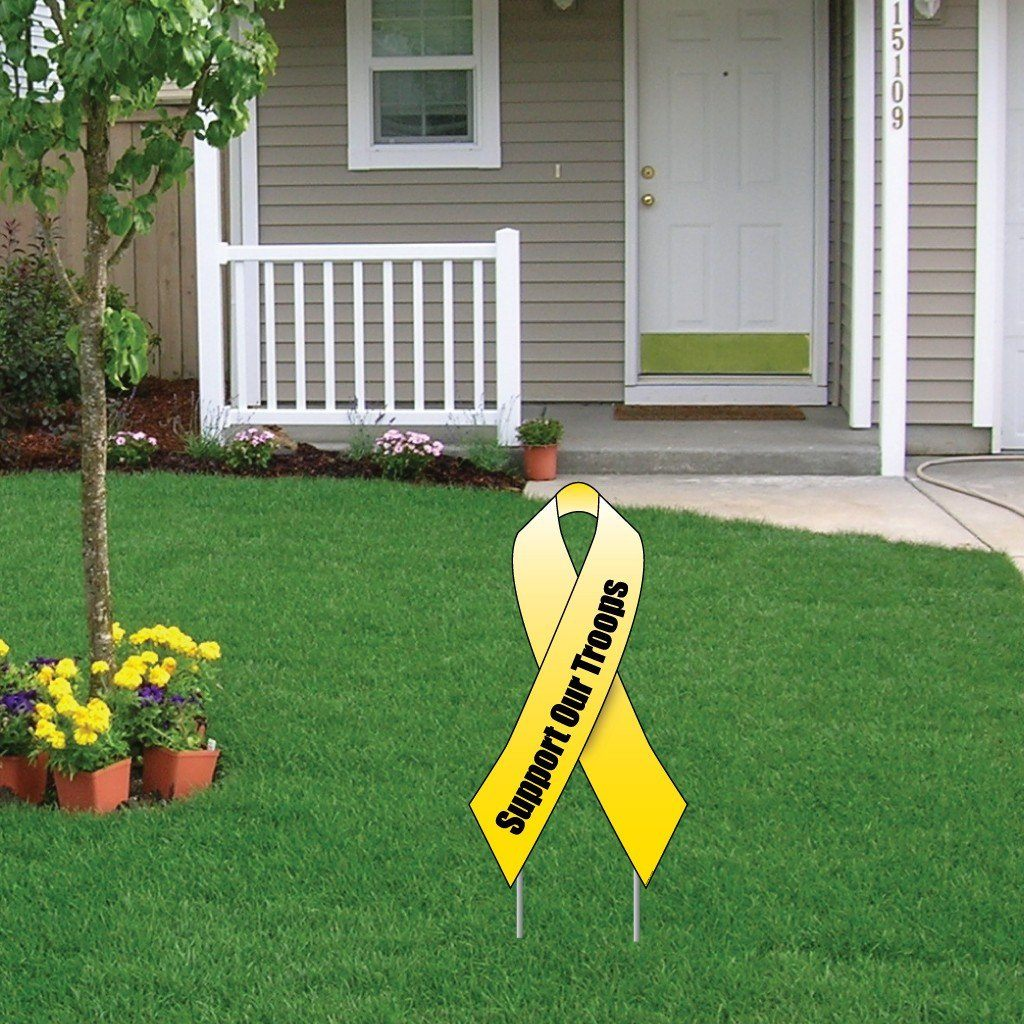 Support Our Troops Yellow Ribbon Yard Sign Set (2 signs) - FREE SHIPPING