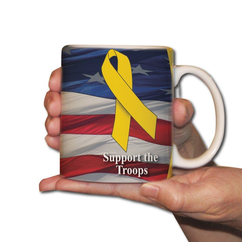 "A coffee cup that says ""Support the Troops"""