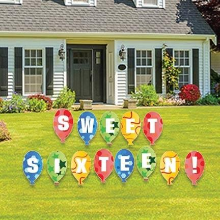 Sweet Sixteen Balloons Lawn Display - FREE SHIPPING