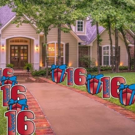 Sweet 16 Pathway Markers - Yard Decorations with 20 Short Stakes