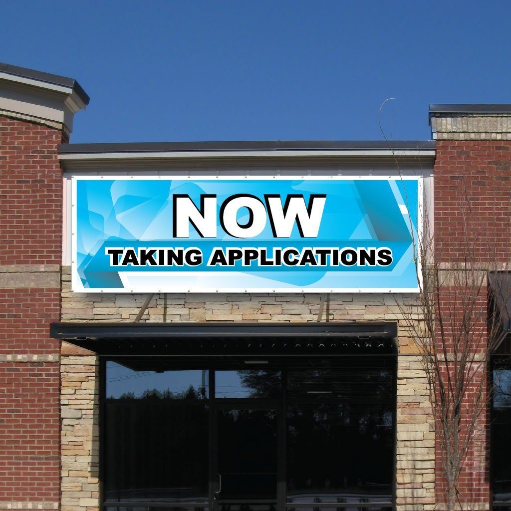 Taking Applications Vinyl Banner with Grommets