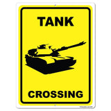 Tank Crossing Sign or Sticker
