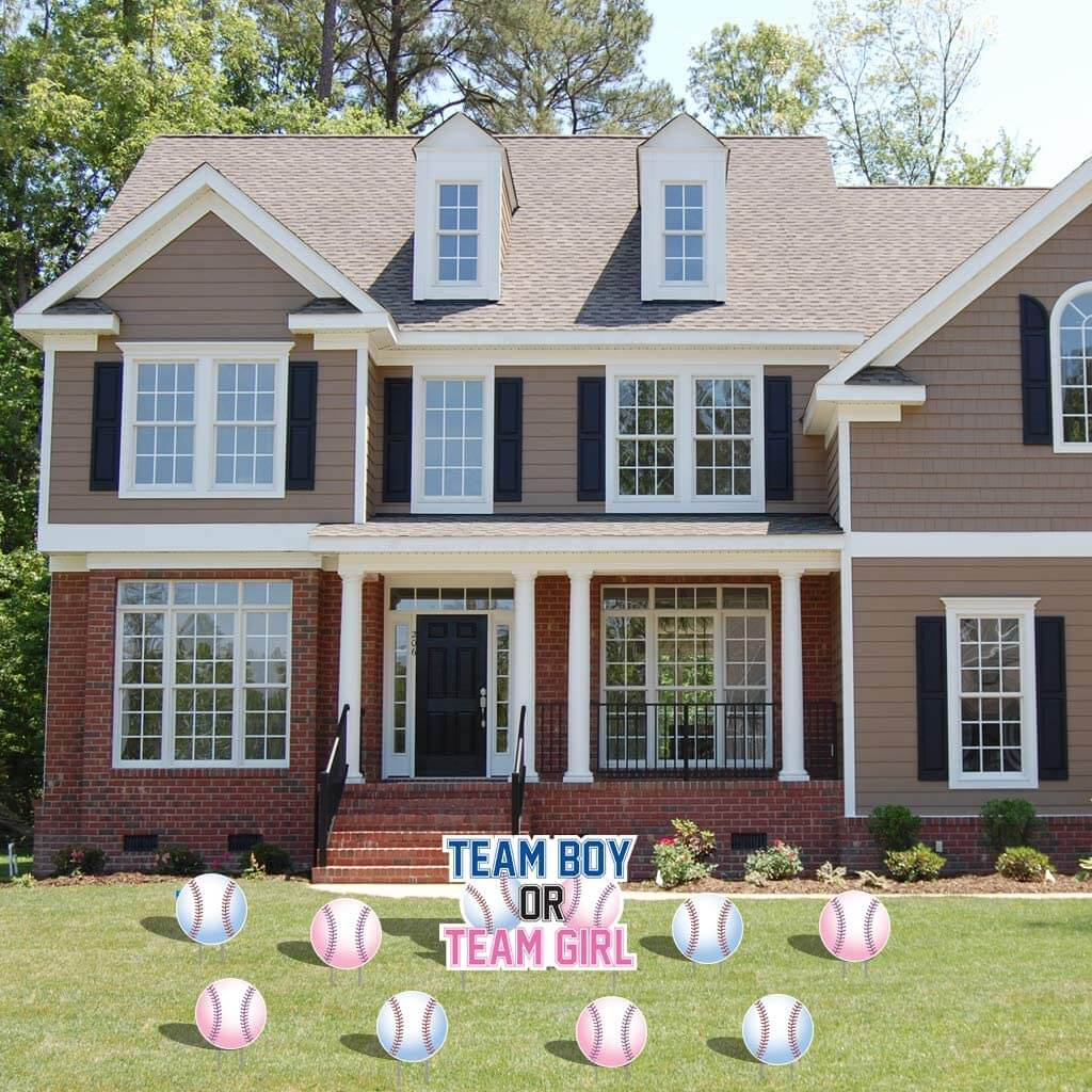 Baseball theme gender reveal yard cards