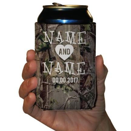 Custom Camouflage Wedding Can Cooler- The Hunt Is Over