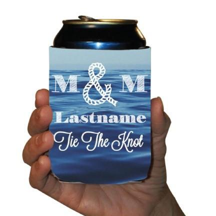 Custom Nautical Wedding Can Cooler- Tie The Knot