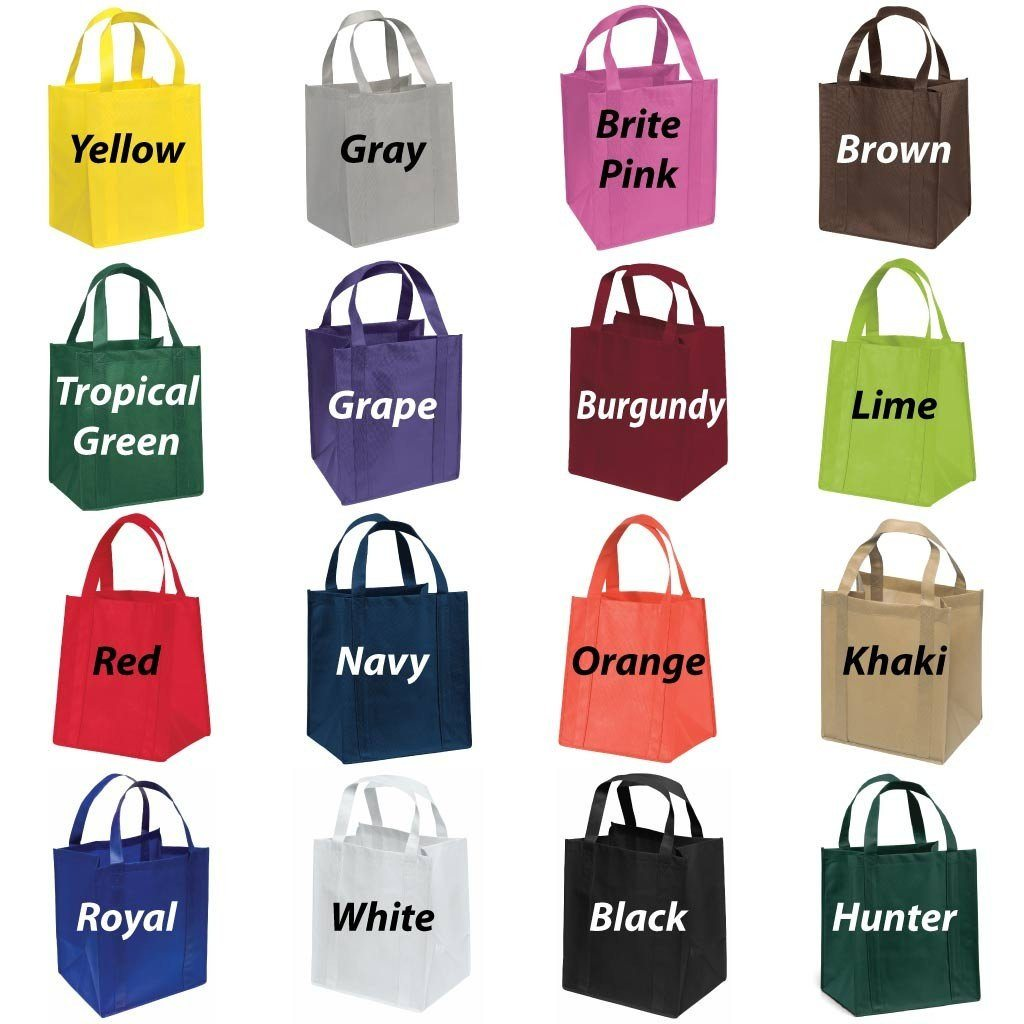 Several different colored bags
