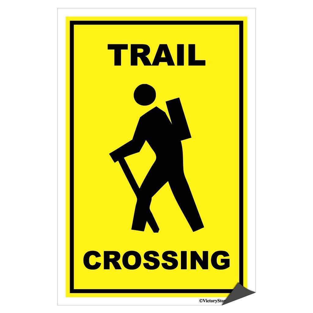 A trail crossing sticker