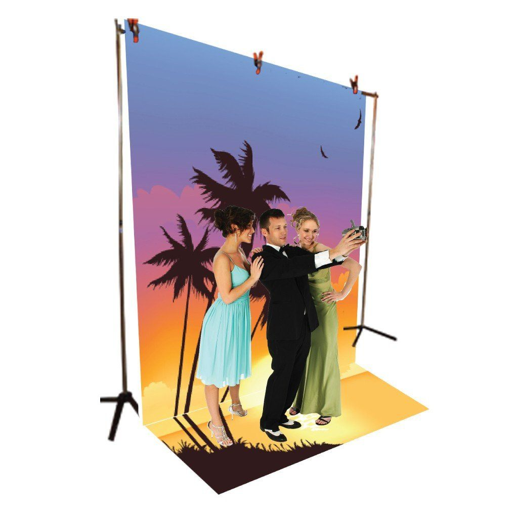 Tropical Island Sunset Vinyl Photography Backdrop - 8'x10' or 8'x14'