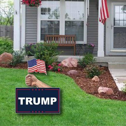 Trump Flag Yard Sign - One Sided including stakes