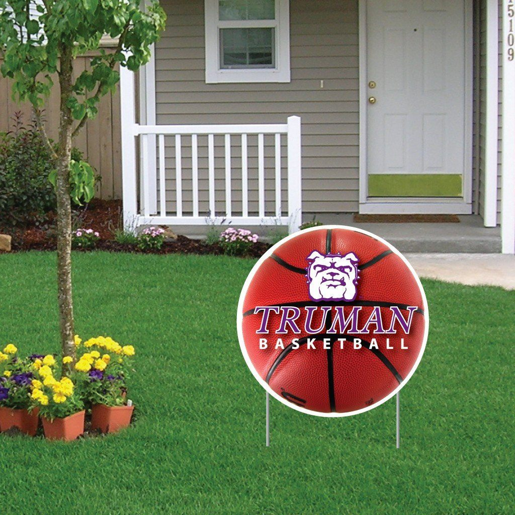 A Truman State University basketball yard sign