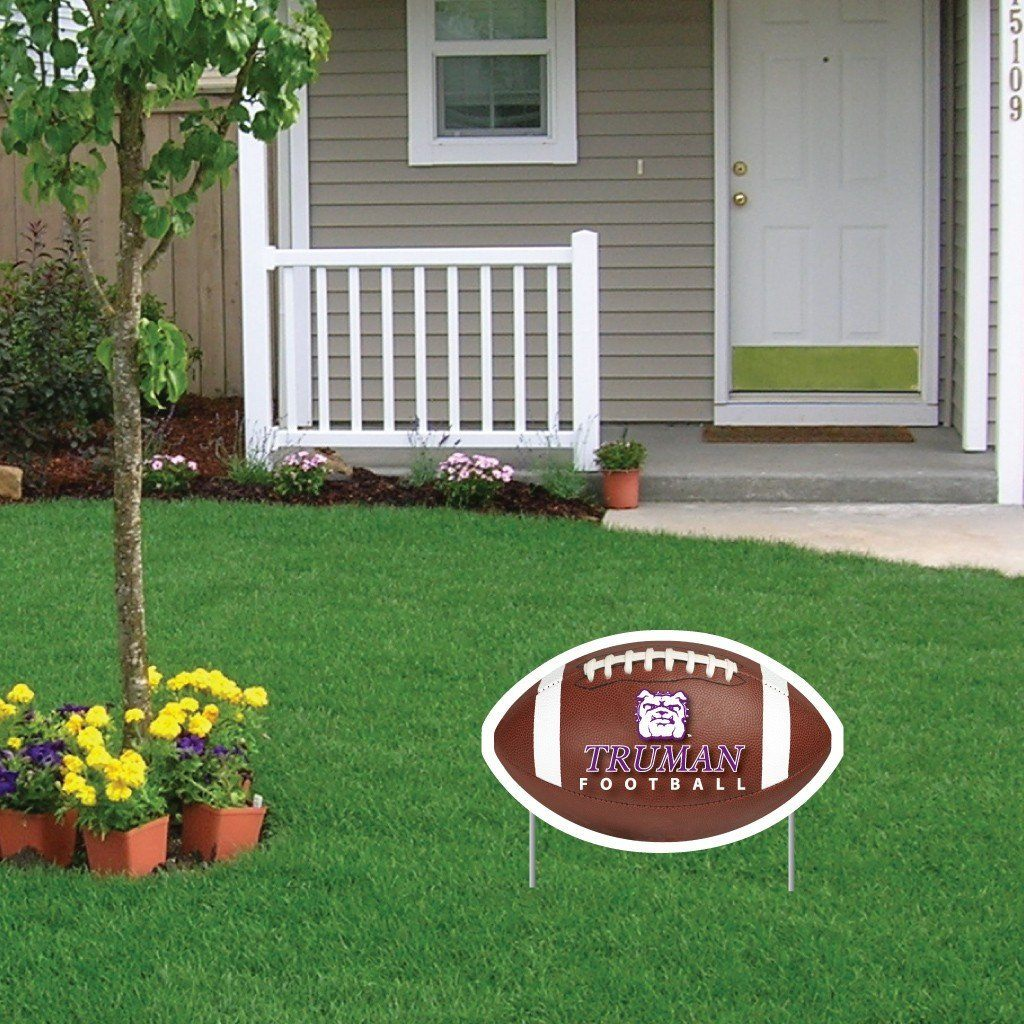 A football themed Truman State University yard sign