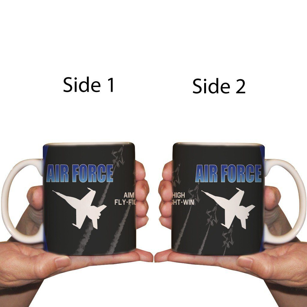 The front and back of a air force theme coffee cup