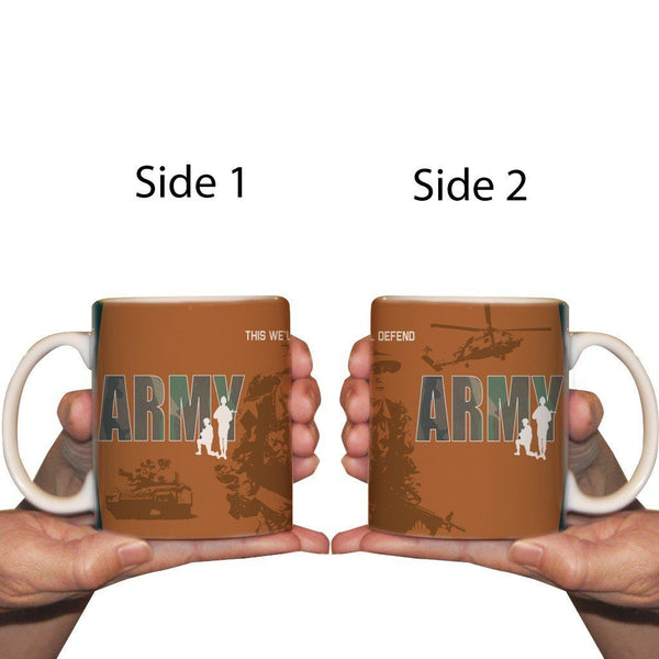 The front and back of a army themed coffee cup