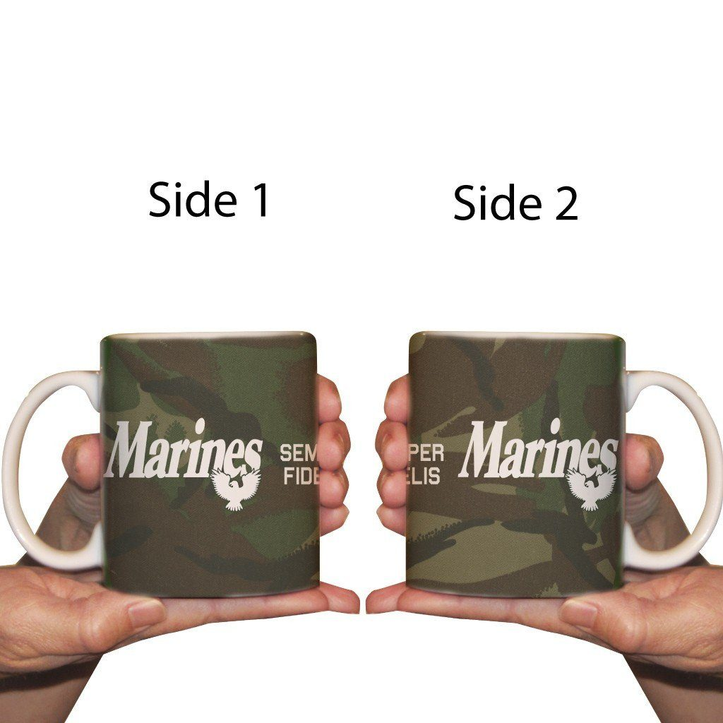 The front and back of a marines styled coffee cup