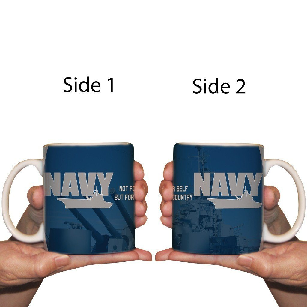 A navy themed Coffee cup