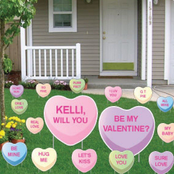 Custom Valentine's Candy Heart Yard Card - 14 pcs - Free Shipping