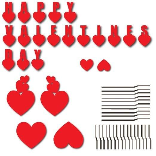 2D template for valentines day decorations