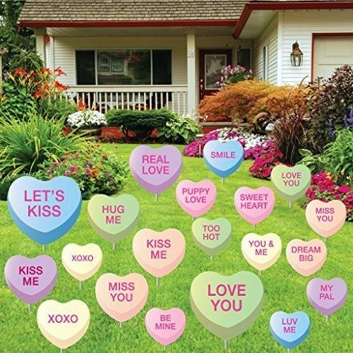 Candy hearts in a front yard