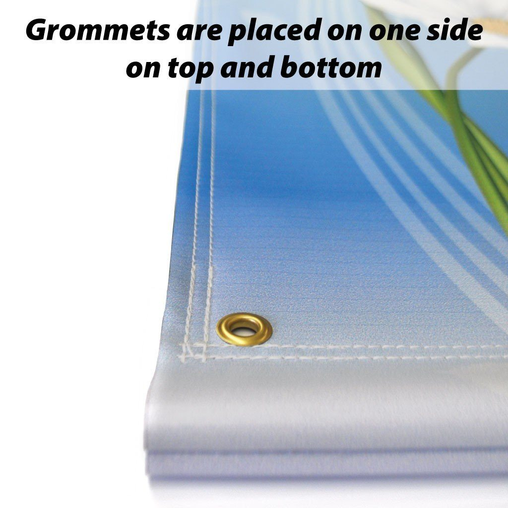 Grommets placed on a pole banner