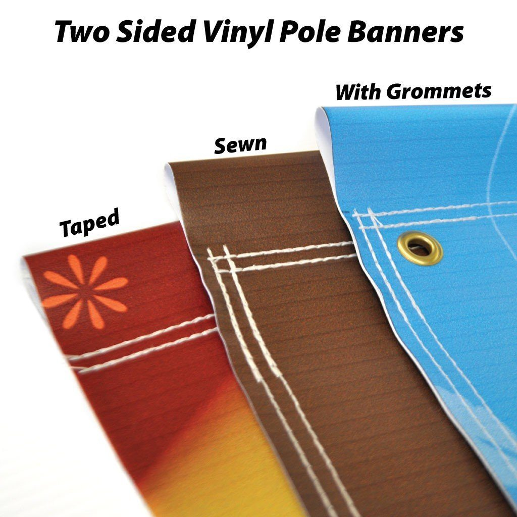 three different styles of pole banners
