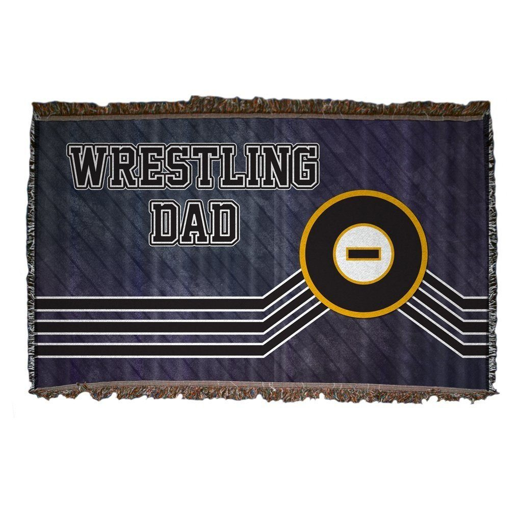 A wrestling themed throw blanket