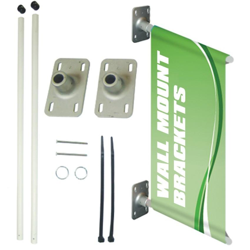 A wall mounting bracket for a pole banner
