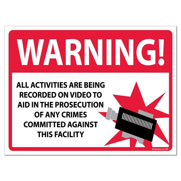WARNING All Activities Are Being Recorded Sign or Sticker - #2