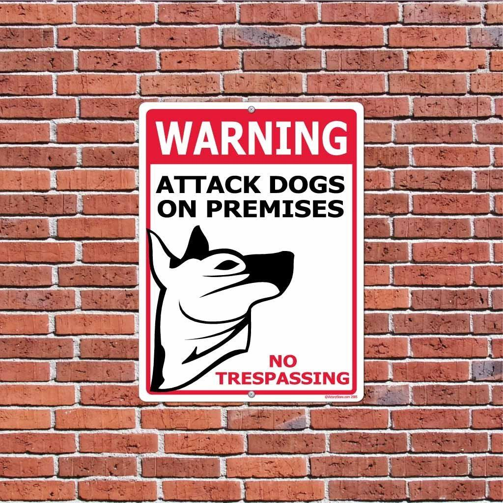 WARNING Attack Dogs On Premises Sign or Sticker - #3