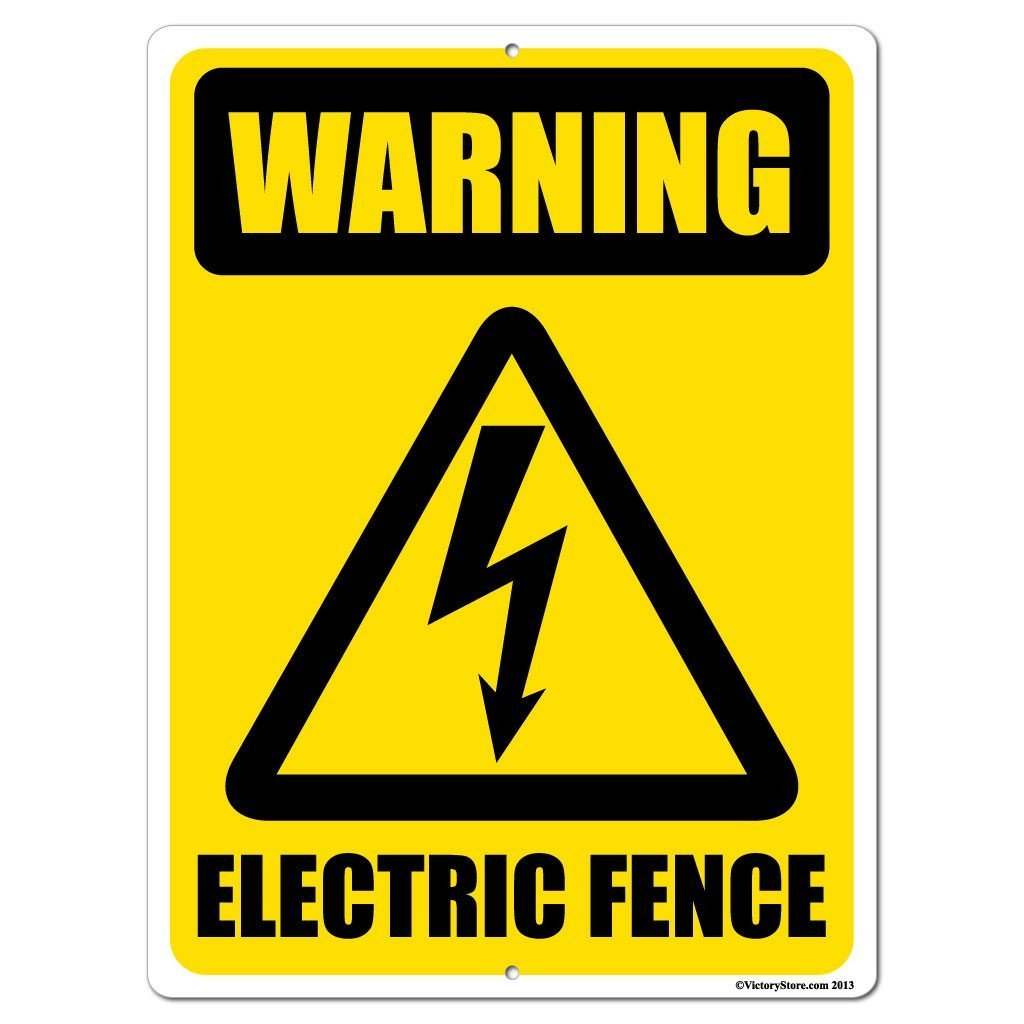 Warning Electric Fence Sign or Sticker - #5
