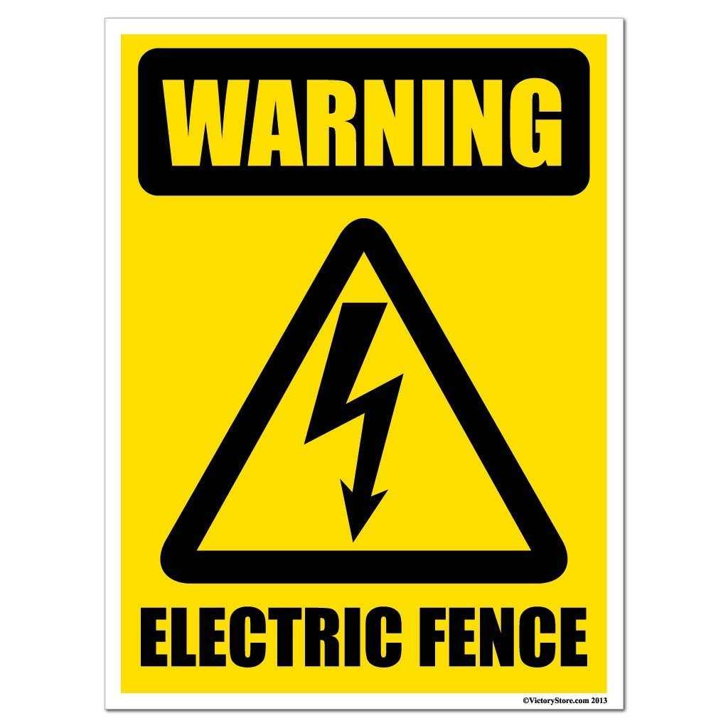 Warning Electric Fence Sign Or Sticker 5