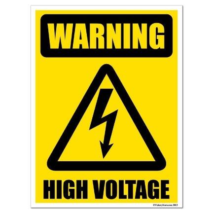 Warning High Voltage Sign or Sticker - #3