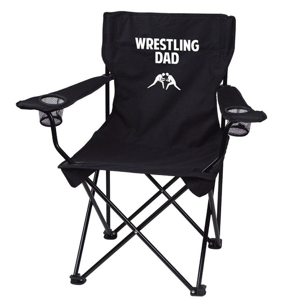 Wrestling Dad Black Folding Camping Chair with Carry Bag