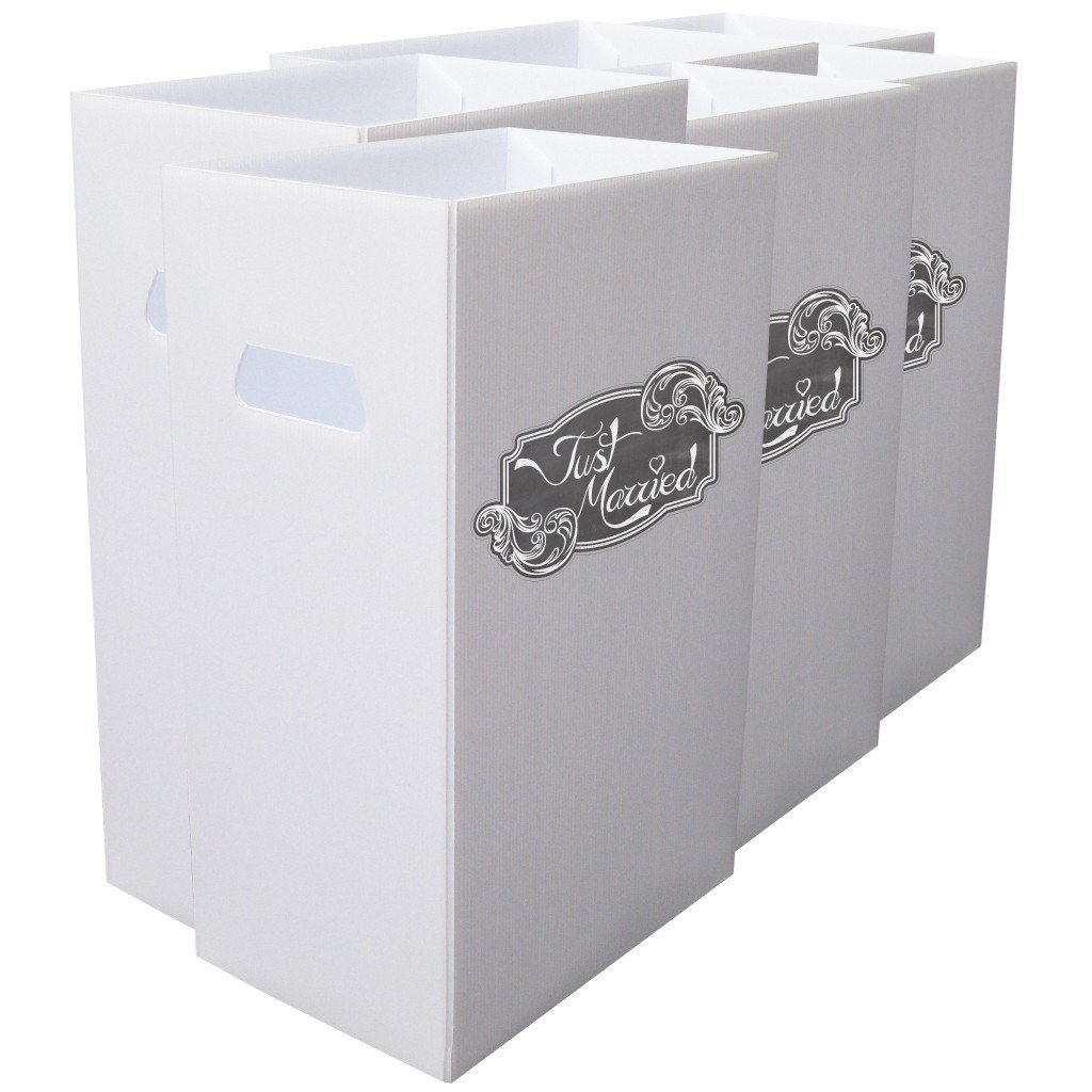 Reusable 4mil Corrugated Plastic Wedding Waste Bin Set of 6 - Just