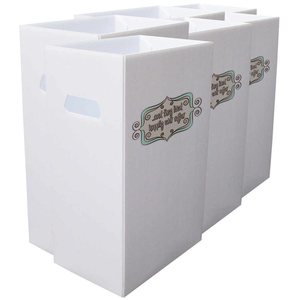 "Reusable 4mil Corrugated Plastic Wedding Waste Bin Set of 6 "" Happily"