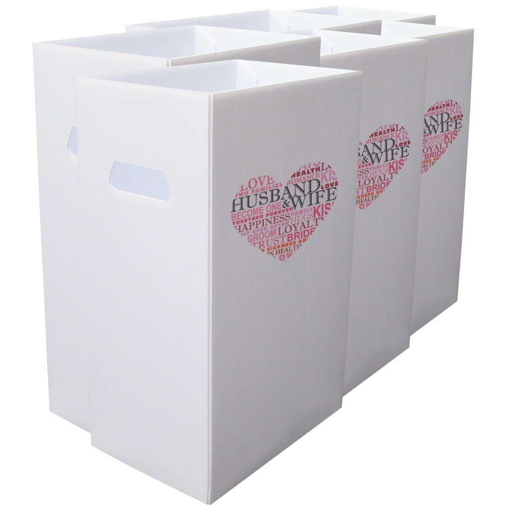 "Reusable 4mil Corrugated Plastic Wedding Waste Bin Set of 6 "" Heart"