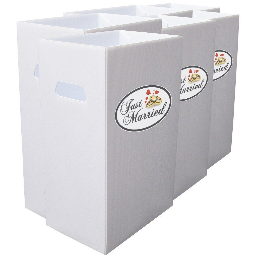 "Reusable 4mil Corrugated Plastic Wedding Waste Bin Set of 6 "" Just"