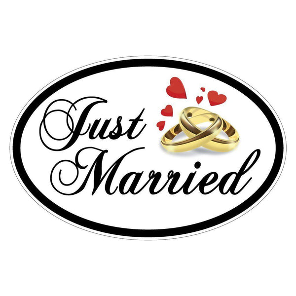 A sign that says just married
