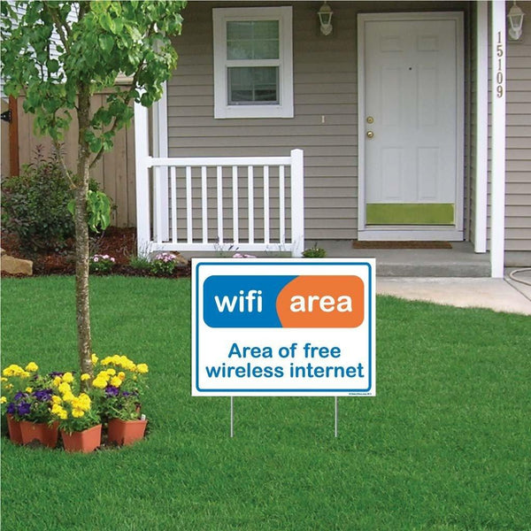 "A yard sign that says ""Free wifi"""