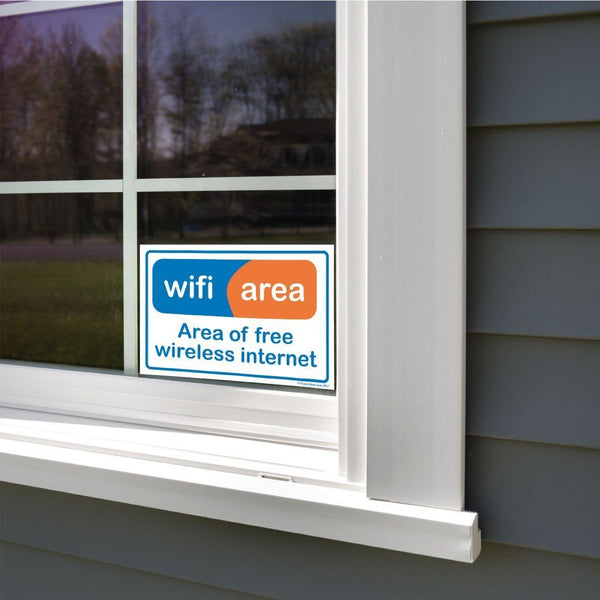 A free wifi sticker on a window